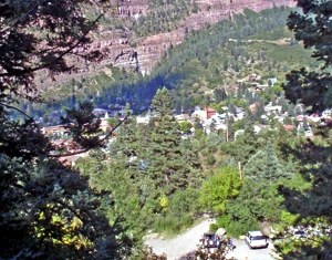Ouray from Box Canyon Falls